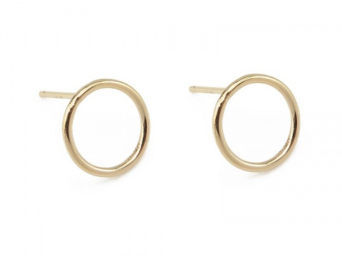 Gold Filled Round Circle Ear Posts 10mm ~ PAIR