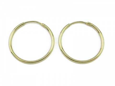 Gold Vermeil Earring Hoops 25mm  ~ PAIR