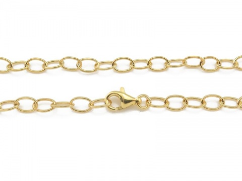Gold Vermeil Cable Chain Bracelet with Clasp 7.5''