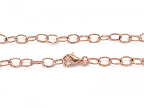 Rose Gold Vermeil Cable Chain Bracelet with Clasp 7.5''
