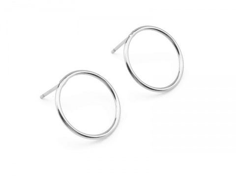Sterling Silver Round Circle Ear Posts 15mm ~ PAIR