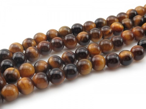 AAA Tiger's Eye Smooth Round Beads 6.5mm ~ 15.5'' Strand