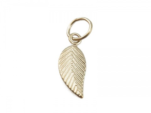 Gold Filled Leaf Charm w/Ring 12mm