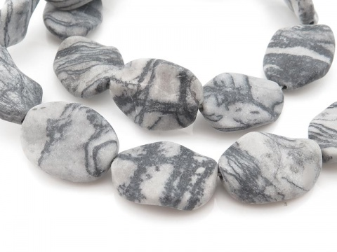 Picasso Jasper Matt Wavy Oval Beads 20mm ~ 15'' Strand