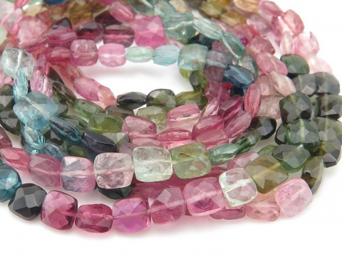 AA Multi-Tourmaline Faceted Square Beads 5-6mm ~ 14'' Strand