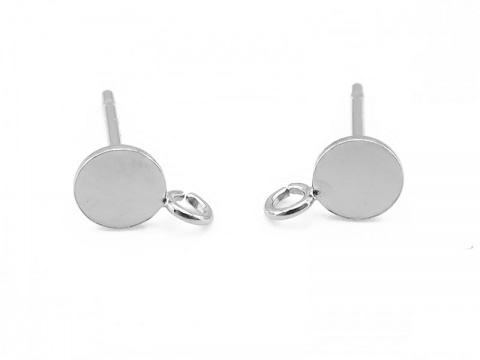 Sterling Silver Disc Ear Post w/Ring 4mm ~ PAIR