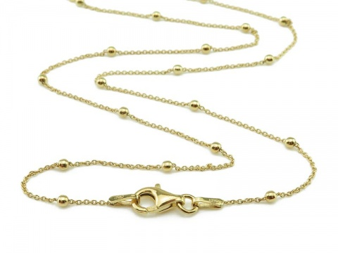Gold Vermeil Satellite Chain Necklace with Clasp 15.75''