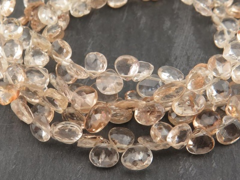 AA+ Brown Topaz Faceted Heart Briolettes 5-5.5mm ~ 8'' Strand