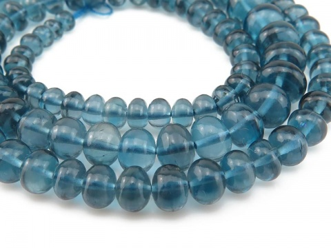 AA+ London Blue Topaz Smooth Rondelles 3.5-6.5mm ~ 15'' Strand
