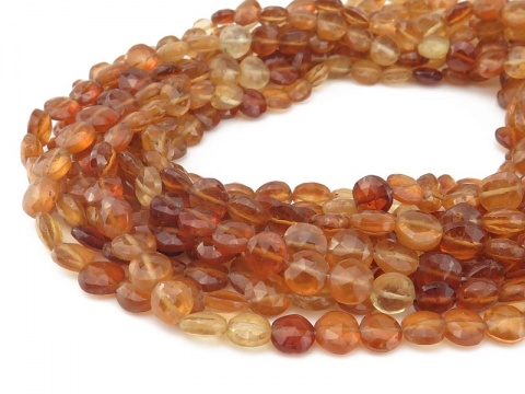 Hessonite Garnet Faceted Coin Beads 6.5mm ~ 13.5'' Strand