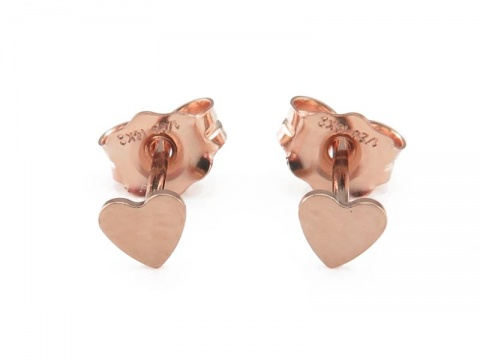 Rose Gold Filled Heart Ear Studs ~ PAIR