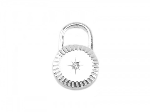 Sterling Silver Lock Pendant with CZ Pole Star 15mm