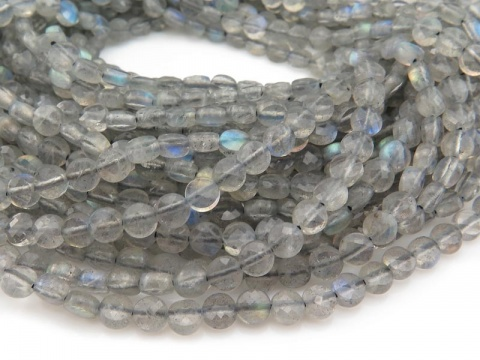 AA Labradorite Faceted Coin Beads 4mm ~ 12.5'' Strand