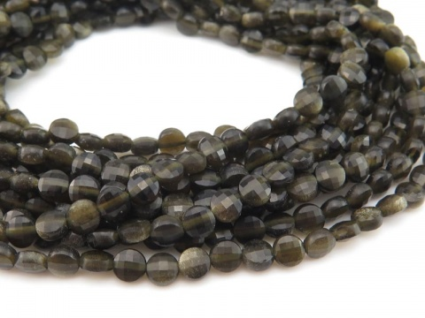 AA Chrysoberyl Faceted Coin Beads 4mm ~ 12.5'' Strand