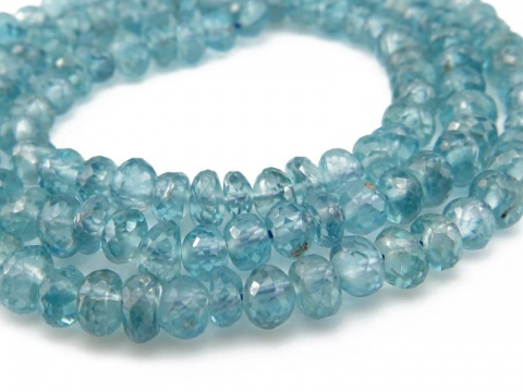 AAA Blue Zircon Micro-Faceted Rondelle Beads 4-4.5mm ~ 14'' Strand