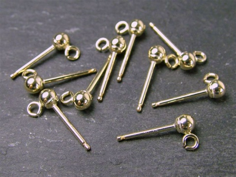 Gold Filled Ear Post w/Ball 3mm ~ Open Ring