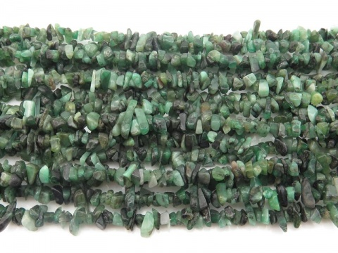 Emerald Chip Beads ~ 34'' Strand