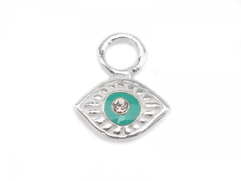 Sterling Silver Eye Charm with Turquoise Enamel 7.75mm