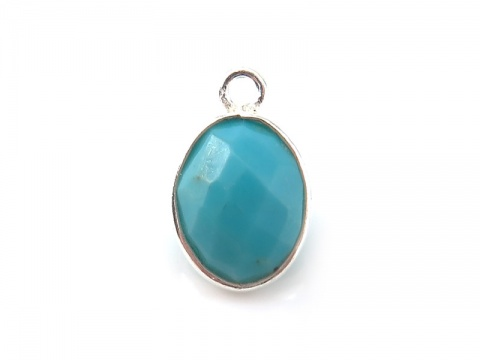Sterling Silver Turquoise Oval Charm 11-12mm