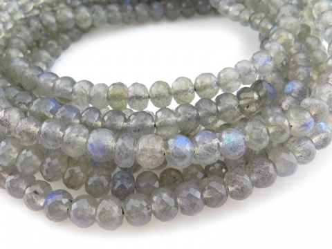AA+ Labradorite Micro-Faceted Rondelle Beads ~ 8'' Strand  ~ Various Sizes