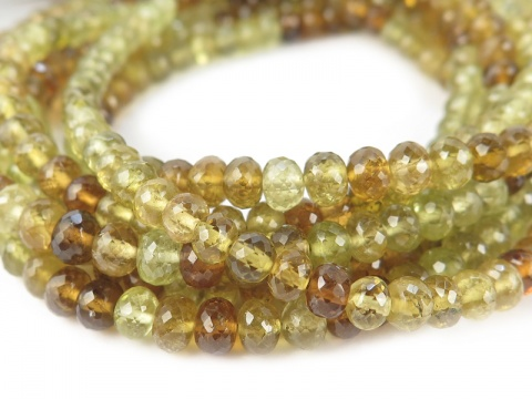 AA+ Grossular Garnet Micro-Faceted Rondelles 4-4.5mm ~ 8.5'' Strand