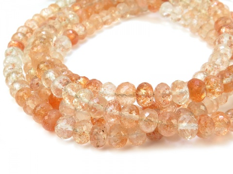 AAA Oregon Sunstone Micro-Faceted Rondelles ~ Various Sizes ~ 8'' Strand