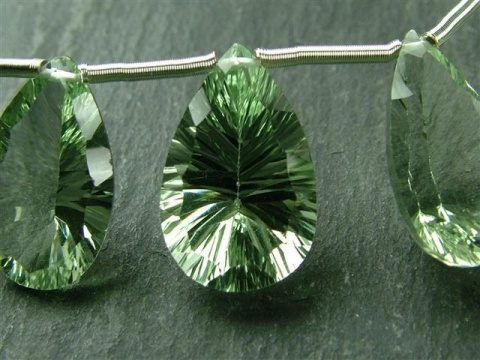 AA+ Green Amethyst Faceted Concave Pear Cut Briolette ~ Various Sizes ~ SINGLE