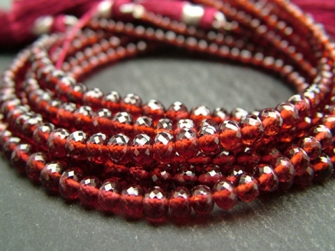 AA+ Garnet Micro-Faceted Rondelles ~ Various Sizes ~ 8.25'' Strand