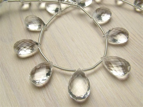 AAA Crystal Quartz Faceted Pear Briolettes ~ Various Sizes