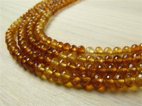 AA Hessonite Garnet Micro-Faceted Rondelles 3-4mm ~ 8'' Strand