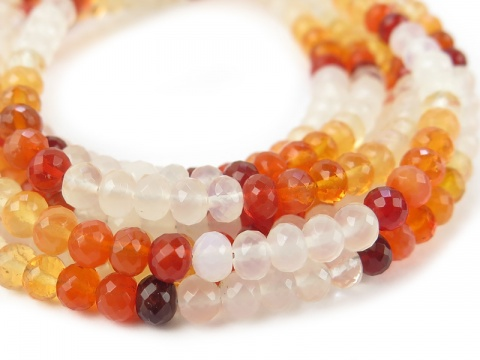 AA+ Fire Opal Micro-Faceted Rondelles ~ Various Sizes ~ 8.5'' Strand