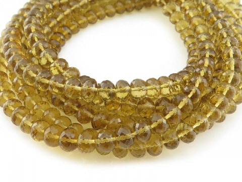 AAA Honey Quartz Micro-Faceted Rondelles 4-5.5mm ~ 8'' Strand