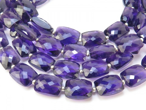 AA+ Amethyst Micro-Faceted Rectangle Beads 9-12mm~ 8'' Strand