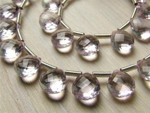 AAA Pink Amethyst Faceted Heart Briolettes ~ Various SIzes