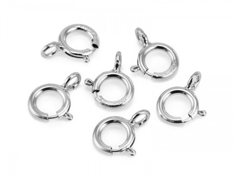 Sterling Silver Spring Ring Clasp w/Open Ring 5mm