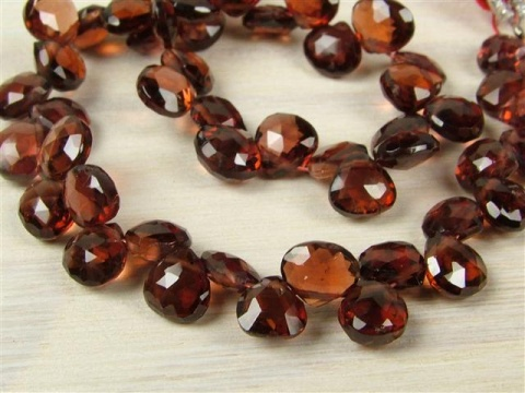 AA Garnet Micro-Faceted Heart Briolettes 5mm ~ 7'' Strand