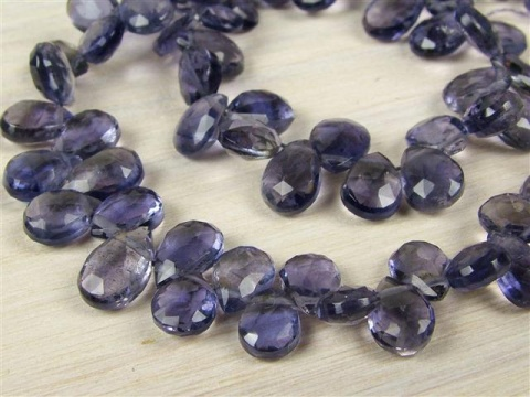AA Iolite Faceted Pear Briolettes 6-7mm ~ 9'' Strand