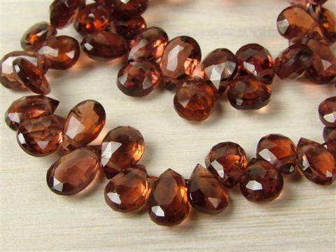 AA Garnet Faceted Pear Briolettes 7.25mm ~ 8'' Strand