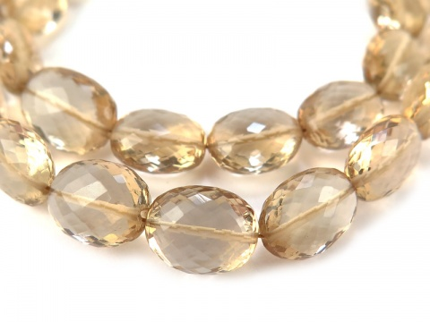 AAA Champagne Citrine Micro-Faceted Oval Beads 8-11mm ~ 8.5'' Strand