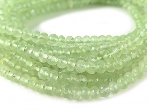 AA+ Prehnite Micro-Faceted Rondelles ~ 8'' Strand ~ Various Sizes