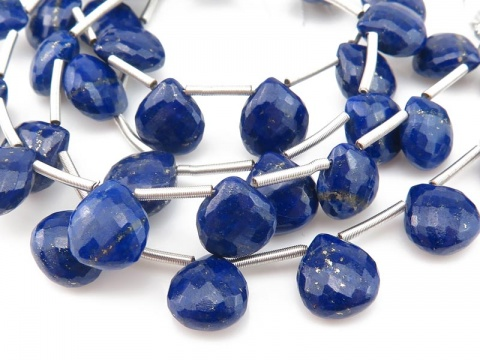AAA Lapis Lazuli Micro-Faceted Heart Briolettes ~ Various Sizes