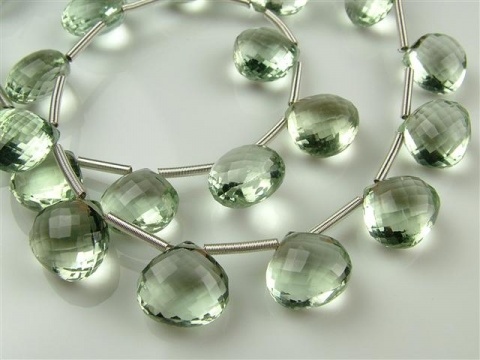 AA+ Green Amethyst Micro-Faceted Heart Briolettes ~ Various Sizes