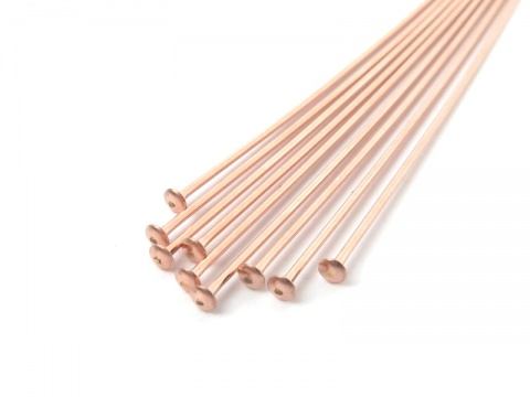 Rose Gold Filled Head Pin ~ 24 gauge ~ 1'' ~ Pack of 10
