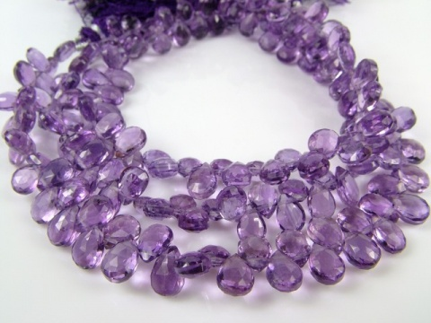 AA+ Amethyst Faceted Pear Briolettes 9-10mm ~ 8'' Strand