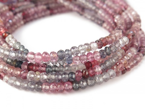 AA+ Multi Spinel Faceted Rondelles ~ Various Sizes ~ 8'' Strand
