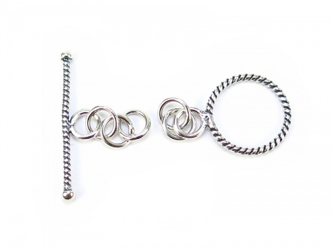 Sterling Silver Toggle and Bar Clasp (Twisted) 12.5mm