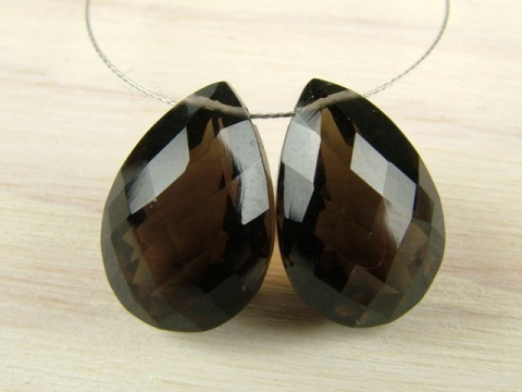 AAA Smoky Quartz Faceted Pear Cut Briolette ~ Various Sizes ~ SINGLE