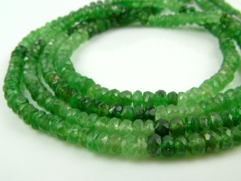 Tsavorite Garnet Faceted Rondelles ~ Various Sizes ~ 14'' Strand