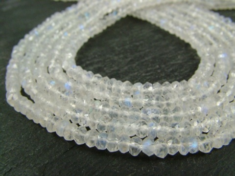 Rainbow Moonstone Faceted Rondelles 4.25mm ~ 13'' Strand