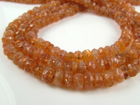 Sunstone Faceted Rondelles ~ Various Sizes ~ 14'' Strand